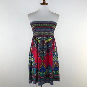 Flying Tomato Printed Strapless Dress